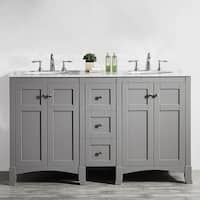 Arezzo 60-Inch Double Vanity in Grey with Carrara White Marble Top without Mirror