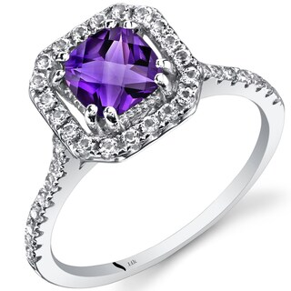 Oravo 14k White Gold Cushion Gemstone Halo Ring