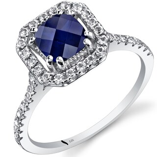 Oravo 14k White Gold Cushion Gemstone Halo Ring (More options available)