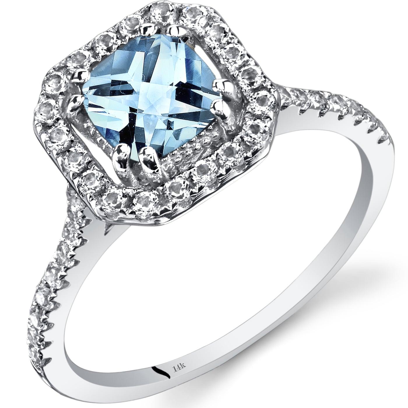 Oravo 14k White Gold Cushion Gemstone Halo Ring (Blue - 5...