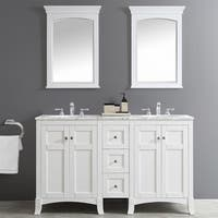 Arezzo 60-Inch Double Vanity in White with Carrara White Marble Top with Mirror