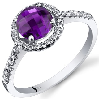 Oravo 14k White Gold Checkerboard Gemstone Halo Ring