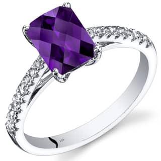 Oravo 14k White Gold Radiant-cut Gemstone Ring|https://ak1.ostkcdn.com/images/products/12382458/P19205341.jpg?impolicy=medium
