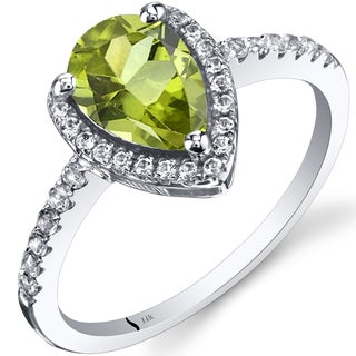 Oravo 14k White Gold Pear-cut Gemstone Open Halo Ring