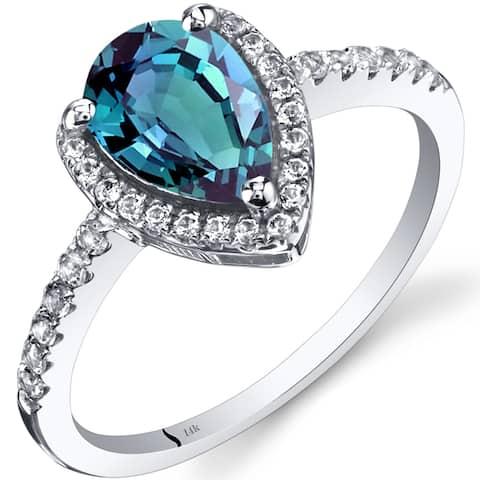 Oravo 14k White Gold Pear-cut Gemstone Open Halo Ring