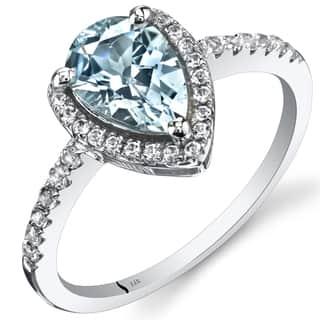 Oravo 14k White Gold Pear-cut Gemstone Open Halo Ring|https://ak1.ostkcdn.com/images/products/12382463/P19205342.jpg?impolicy=medium