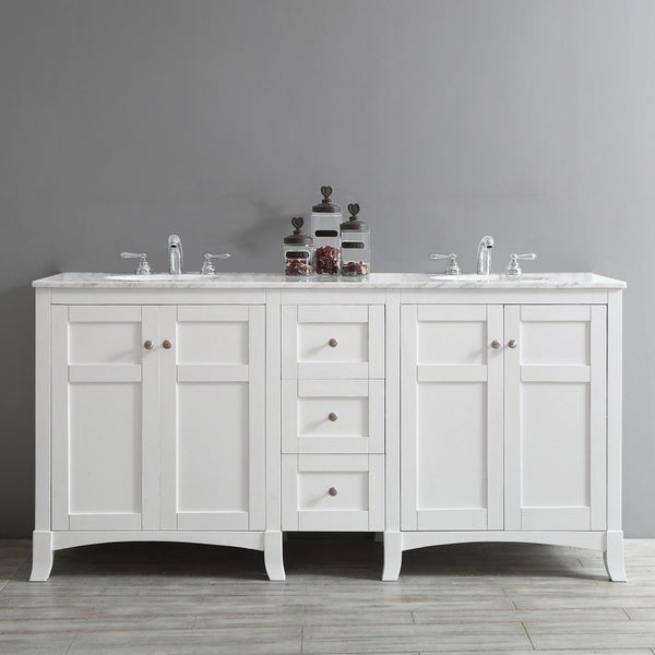 Shop Arezzo 72 Inch Double Vanity In White With Carrara White Marble Top Without Mirror