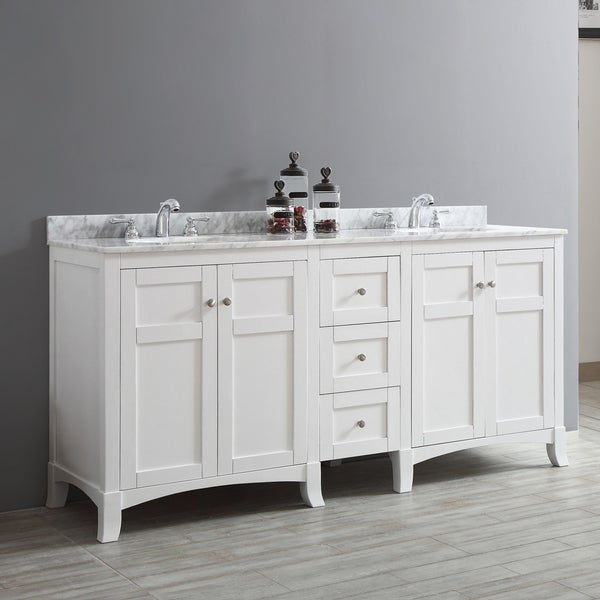 Arezzo 72 Inch Double Vanity In White With Carrara White Marble Top Without Mirror Free