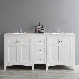 Arezzo 72-Inch Double Vanity in White with Carrara White Marble Top without Mirror