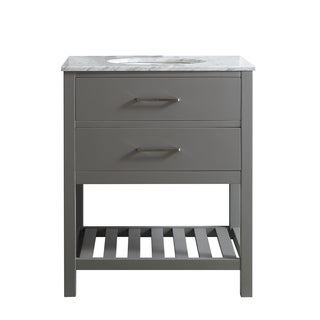 Foligno 30-Inch Single Vanity in Grey with Carrara White Marble Top without Mirror