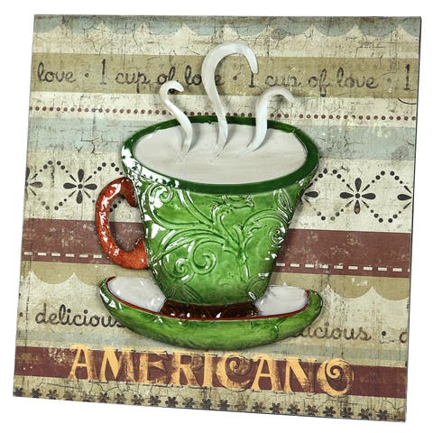River Cottage Gardens P21012/3BHYGPB Green Cup Metal Wall Plaque