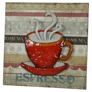 River Cottage Gardens P21012/2BHYGPB Red Cup Metal Wall Plaque