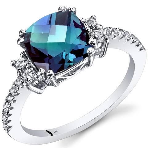 Oravo 14k White Gold Cushion Checkerboard Gemstone Ring