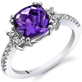Oravo 14k White Gold Cushion Checkerboard Gemstone Ring|https://ak1.ostkcdn.com/images/products/12382529/P19205343.jpg?impolicy=medium