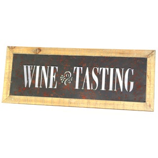 River Cottage Gardens A26903/1BHYGPB Wine Tasting Metal & Wood Wall Sign