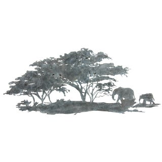 River Cottage Gardens A25843K-BHYGPB Elephants Under The Tree Metal Wall Plaque