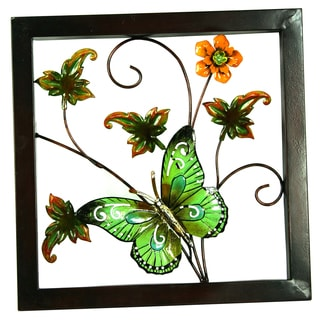 River Cottage Gardens A03849/2-UPS 13.8-inches X 2.2-inches X 13.8-inches Green Butterfly Wall Art