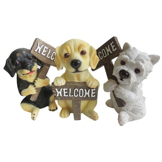 Alpine Corporation SLV236ABB 9-inches Welcome Dog Statuary Assorted Styles