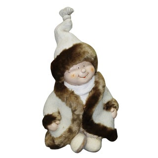 Alpine Corporation QWR580 19-inches Boy with White & Brown Coat Sitting Cross Legged Statuary