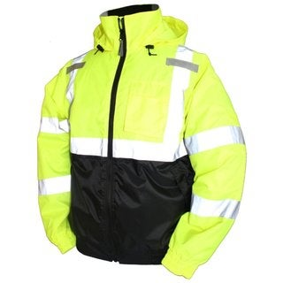 Tingley Men's Lime Green Rubber Bomber II Jacket with 2-inch Silver Reflective Tape