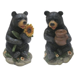 Alpine Corporation LWA112ABB 5-inches Assorted Bear Statuary with Solar Light