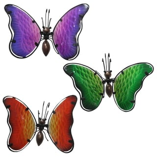 Alpine Corporation LJJ300ABB 4-inches Hanging Butterfly Planter Decor Assorted Colors
