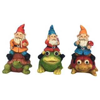 Alpine Corporation KGD102ABB 6-inches Assorted Styles Gnomes Riding Animals Statuary