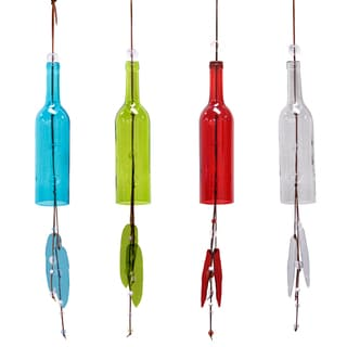 Alpine Corporation HUP108A 11-inches Assorted Colors Hanging Glass Bottle with Windchime