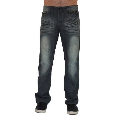 Men's Dark Wash Cotton Denim Straight-leg Jeans