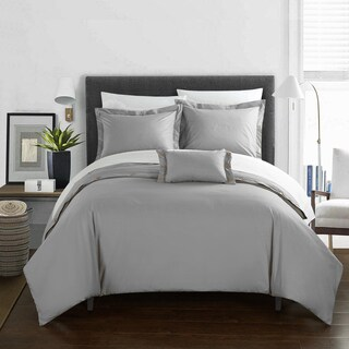 Chic Home Astrid Grey Cotton Duvet Cover 4-Piece Set