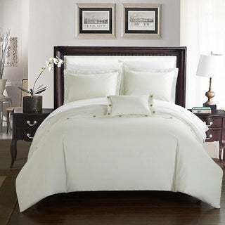 Chic Home Astrid White Cotton Duvet Cover 4-Piece Set