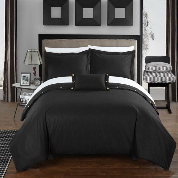 Chic Home Astrid Black Cotton Duvet Cover 4-Piece Set