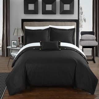 Chic Home Astrid Black Cotton Duvet Cover 4-Piece Set