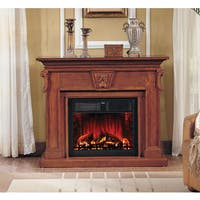 New Port Brown Wood Fireplace with 28-inch Insert