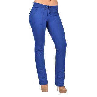 Women's Royal Drawstring 4-pocket Hook-and-loop Closure Back-pocket Pants