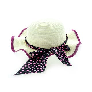 Faddism Beige Acrylic Kids Sun Hat With Chain Hatband