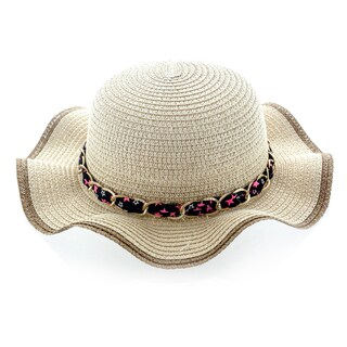 Faddism Beige Acrylic Kids Sun Hat With Chain Hatband