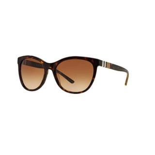 Burberry Women's BE4199 300213 Dark Havana Plastic Square Sunglasses with 58mm Lens