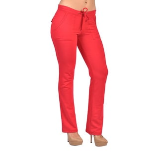 Women's Red Drawstring 4-pocket Pants