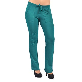 Women's Green Drawstring 4-pocket Hook-and-loop Closure Back-pocket Pants
