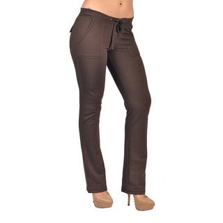 Women's Drawstring Brown 4 Pocket Velcro Closure Back Pocket Pants