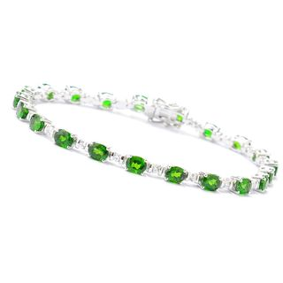 Sterling Silver 8.8 CTW Chrome Diopside and White Zirconia Bracelet