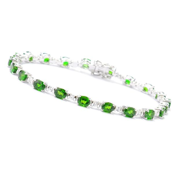 Pinctore Sterling Silver 8 Ctw Chrome Diopside And White Zirconia Bracelet