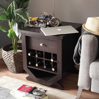 Furniture of America Vassen Modern Espresso Storage End Table with Wine Rack