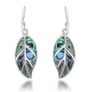 La Preciosa Sterling Silver Abalone Leaf Dangle Earrings
