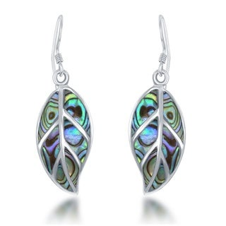 La Preciosa Sterling Silver Abalone Leaf Dangle Earrings