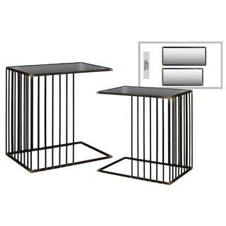 Metal Rectangular Nesting Accent C-Table with Mirror Top and Rectangular Base (Set of Two)