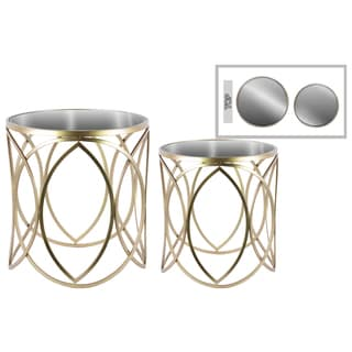 Metal Round Nesting Accent Table with Mirror Top and Swirl Design (Set of Two)