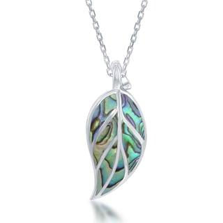 La Preciosa Sterling Silver Abalone Leaf Pendant Necklace