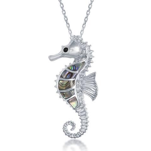 La Preciosa Sterling Silver Abalone Sea Horse Pendant